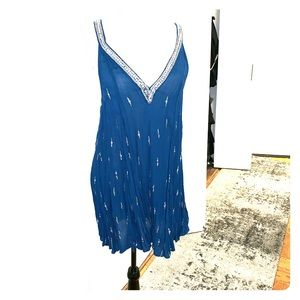 NWT FREE PEOPLE SEQUIN DRESS/TUNIC NAVY TEAL DREAM